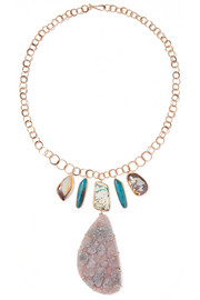Melissa Joy Manning 14-karat gold, opal and druzy necklace