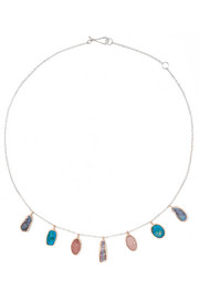14-karat gold, sterling silver, opal and druzy necklace