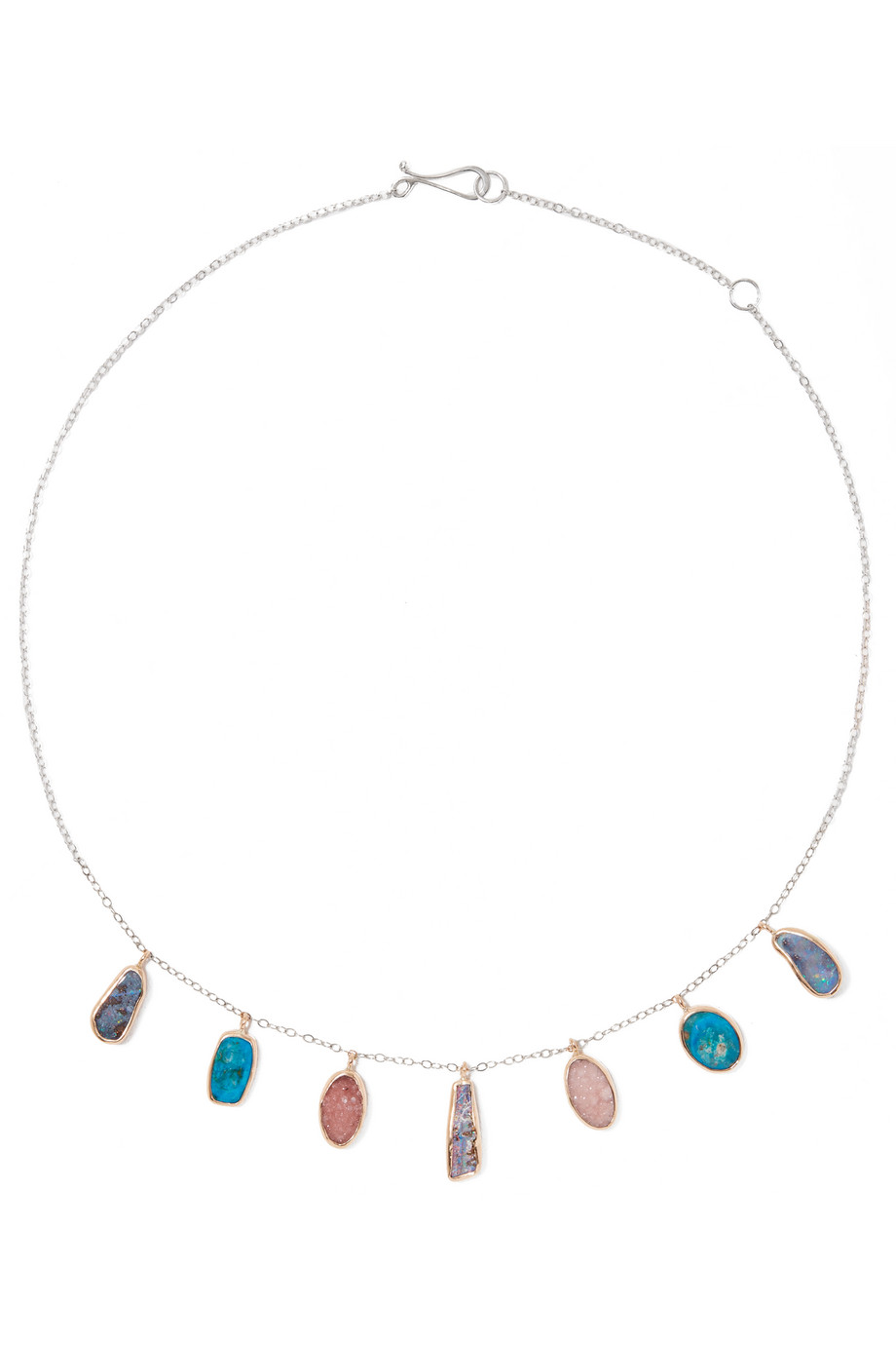 14-Karat Gold, Sterling Silver, Opal and Druzy Necklace, Melissa Joy Manning, Gold/Blue, Women's