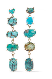 14-karat gold, sterling silver and turquoise earrings
