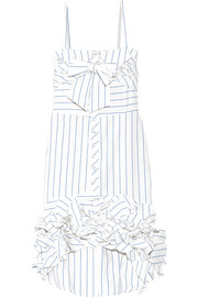 Simone striped cotton and linen-blend dress