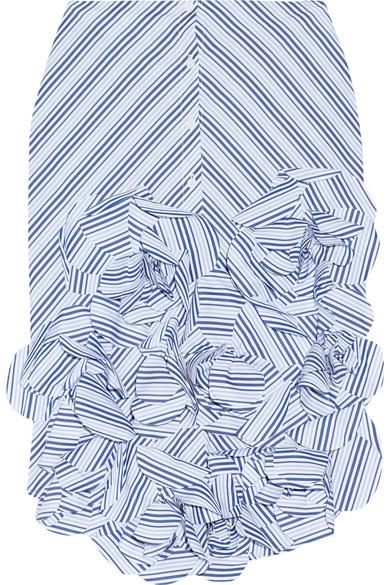 Johanna Ortiz - Emma Ruffled Striped Cotton-poplin Midi Skirt - Sky blue