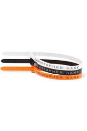 Set of three printed plastic bracelets