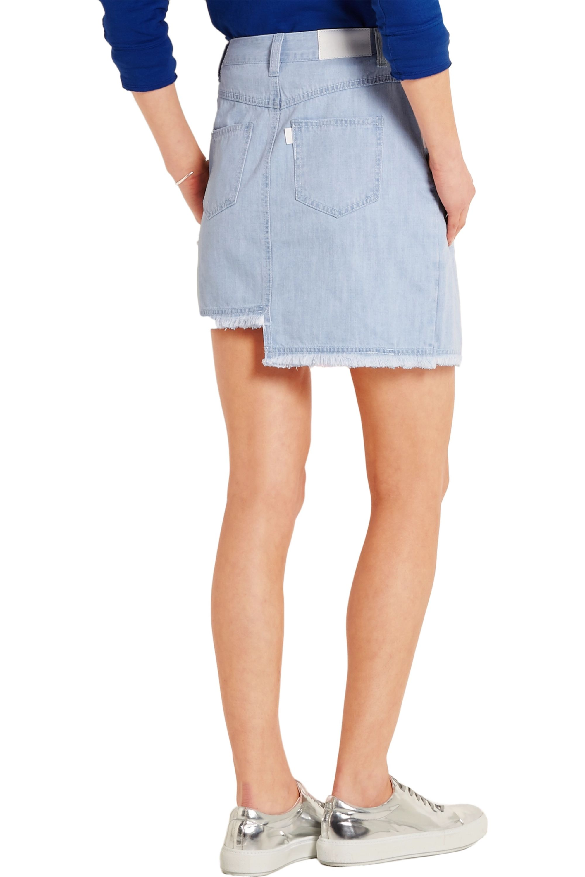 SJYP Denim wrap-effect mini skirt
