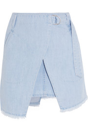 Denim wrap-effect mini skirt