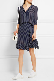 Ruffled pinstriped georgette mini skirt