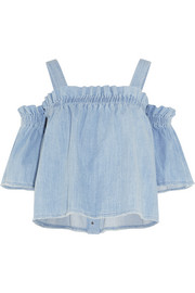 Convertible off-the-shoulder ruffled denim top