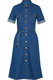 Belted stretch-denim shirt dress