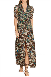Anna Sui Floral-print silk crepe de chine maxi dress