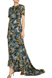 Anna Sui Printed fil coupé silk-blend chiffon dress