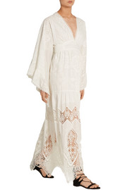 Anna Sui Crochet-trimmed embroidered cotton maxi dress