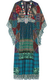 Anna Sui Embellished silk-blend chiffon and cotton maxi dress
