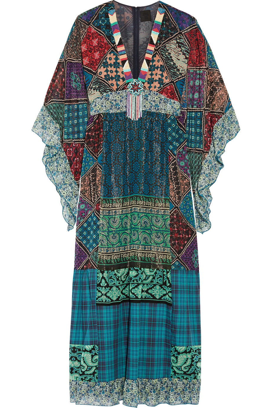 Anna Sui Embellished Silk-Blend Chiffon and Cotton Maxi Dress, Blue, Women's - Metallic, Size: L