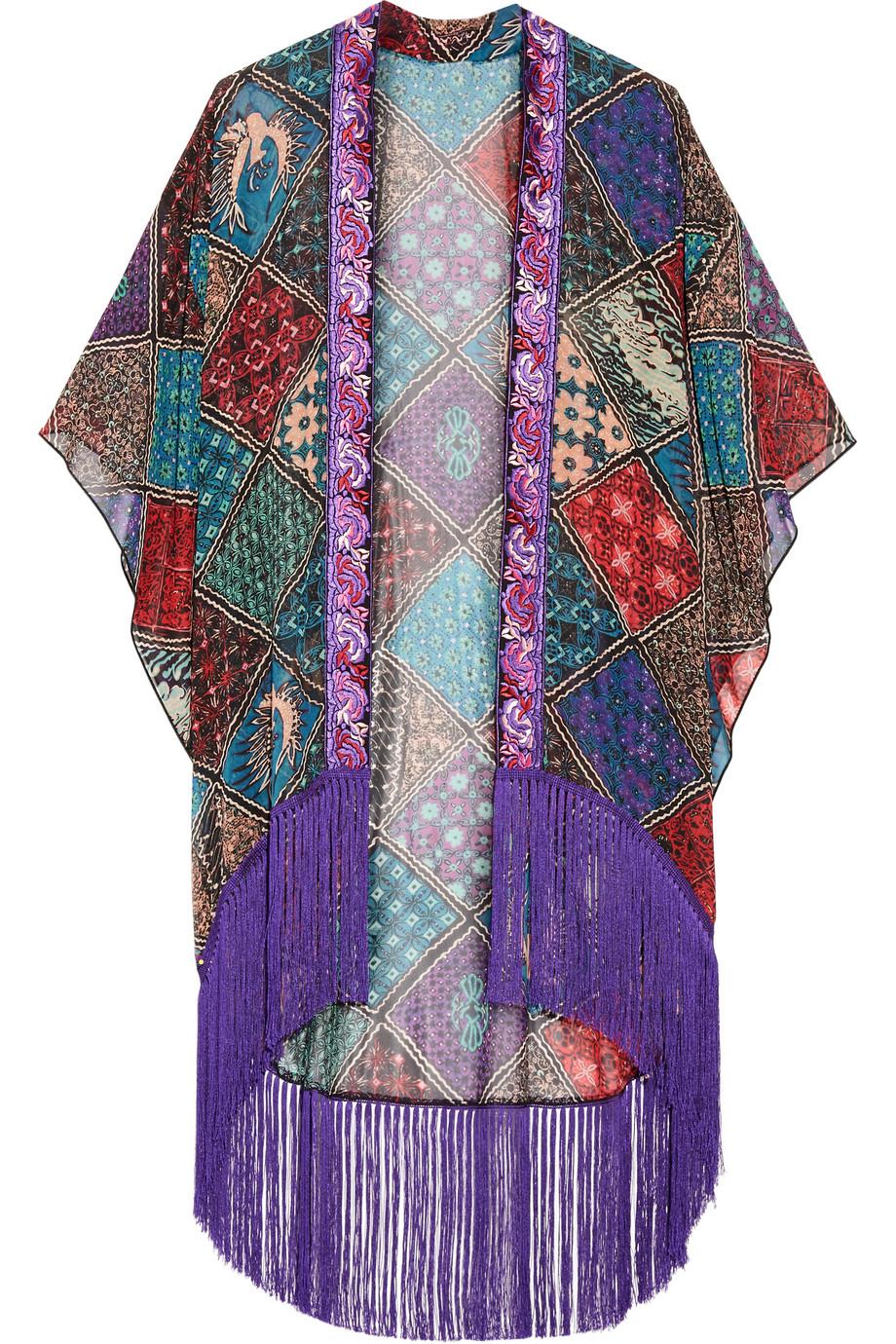Anna Sui Bird of Paradise Fringed Printed Silk-Chiffon Kimono, Purple, Women's, Size: XS/S