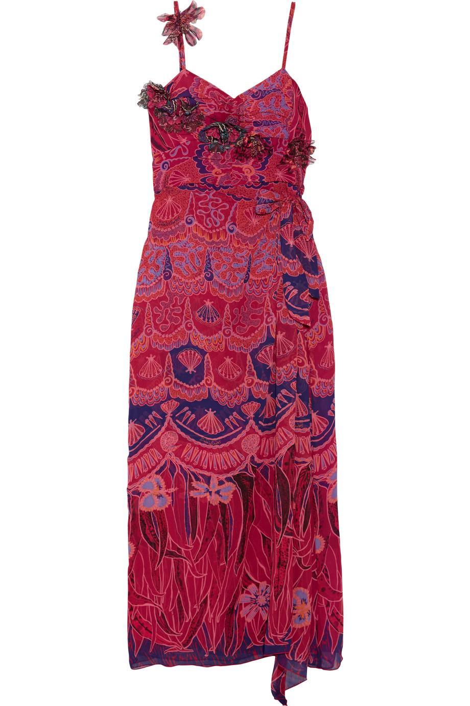 Anna Sui Zandra Printed Crinkled Silk-Chiffon Maxi Dress, Pink, Women's - Printed, Size: 8
