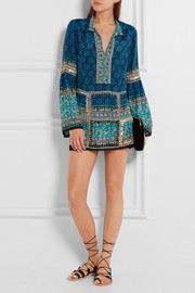 Anna Sui Embellished printed silk and cotton-blend mini dress