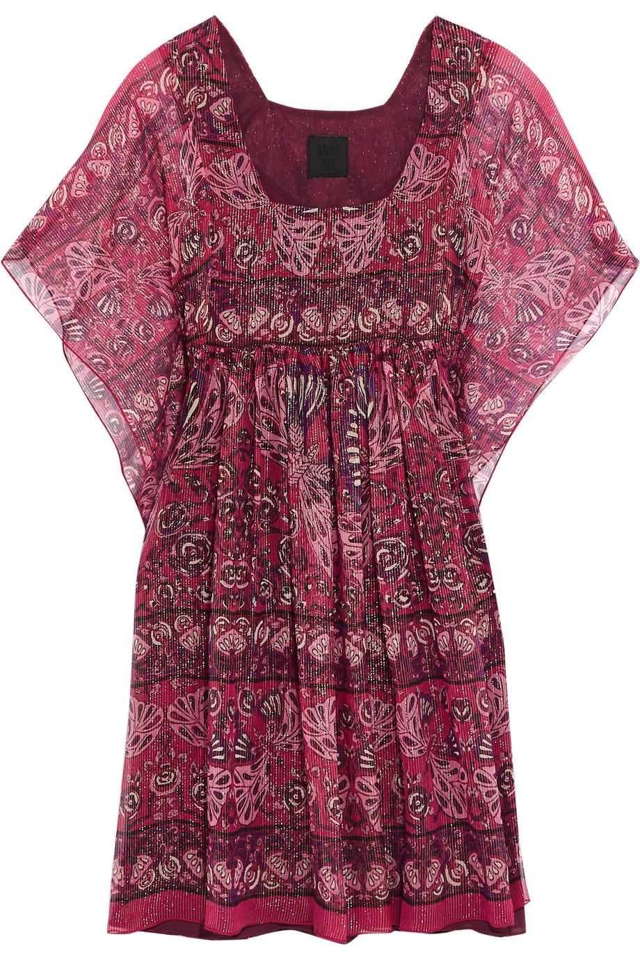 Anna Sui Lamé-Striped Printed Silk-Blend Mini Dress, Pink/Purple, Women's - Printed, Size: 2
