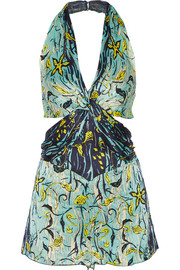 Anna Sui Cutout printed silk-crepon playsuit