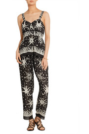 Anna Sui Printed crepe de chine straight-leg pants