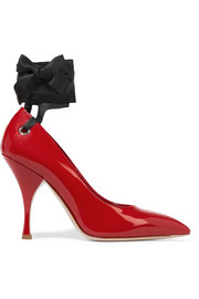 Miu Miu Canvas-trimmed patent-leather pumps