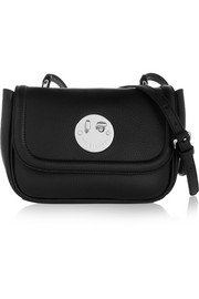 Happy mini textured-leather shoulder bag