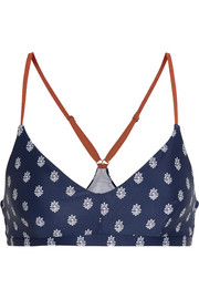 Zoe printed stretch-jersey sports bra