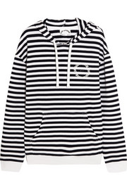 Rimini striped cotton-terry hooded top