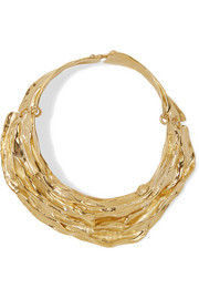 Draped gold-plated choker
