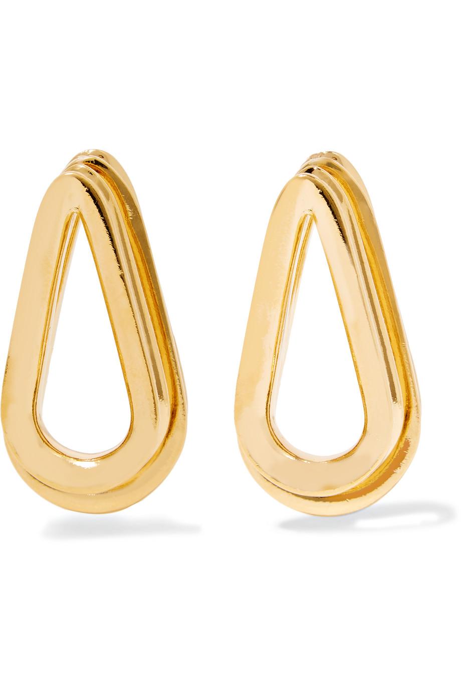 Double Ellipse Gold-Plated Earrings, Women's