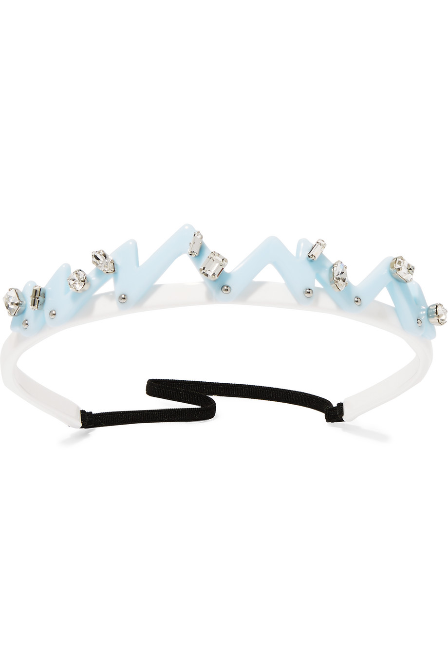 Miu Miu Swarovski Crystal and Stud-Embellished Perspex Headband, White/Blue, Women's