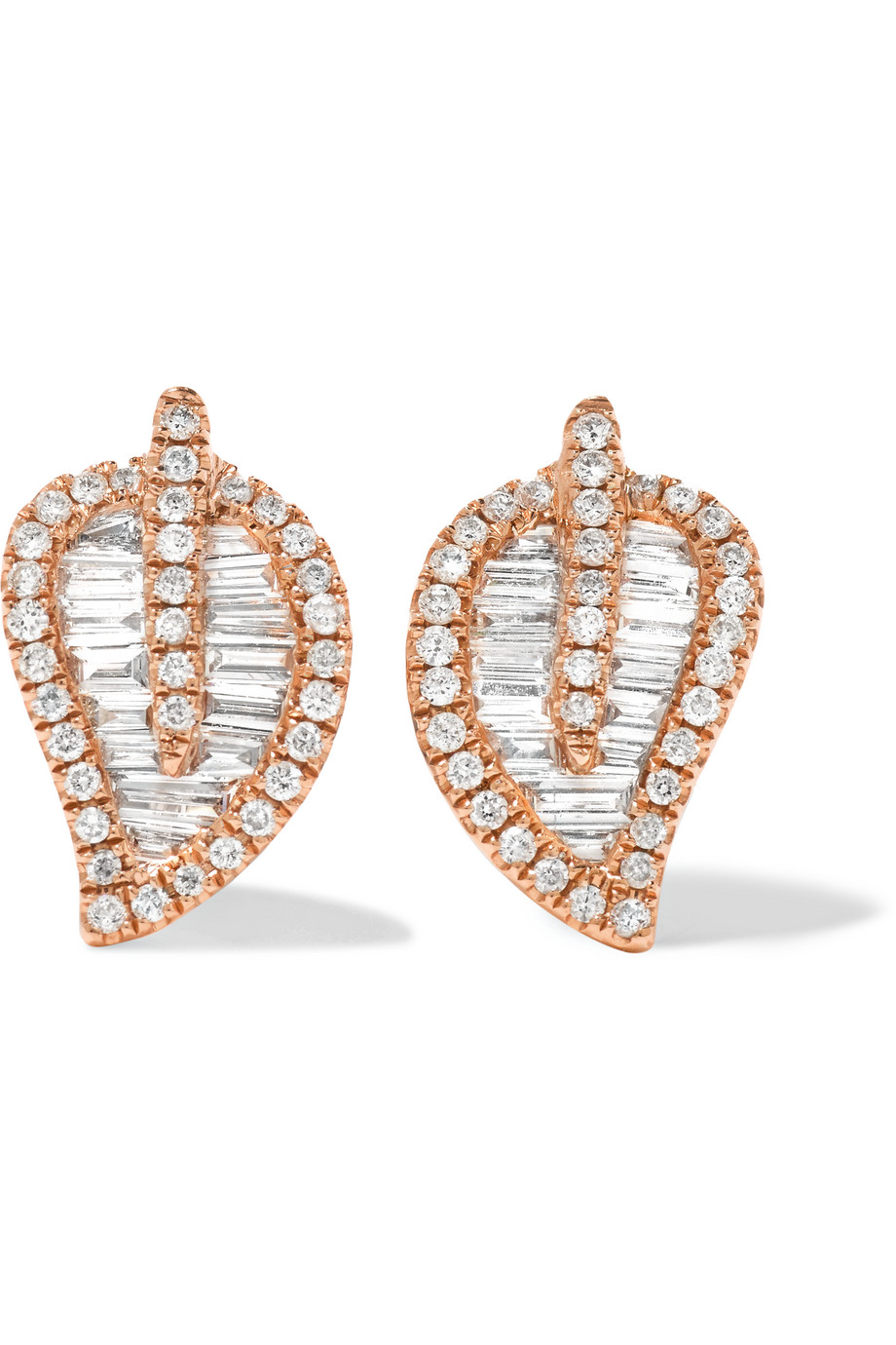 Anita Ko Leaf 18-Karat Rose Gold Diamond Earrings, Women's