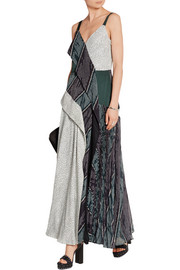 Paneled chiffon, crepe de chine and matelassé maxi dress