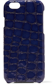 Croc-effect glossed-leather iPhone 6 case