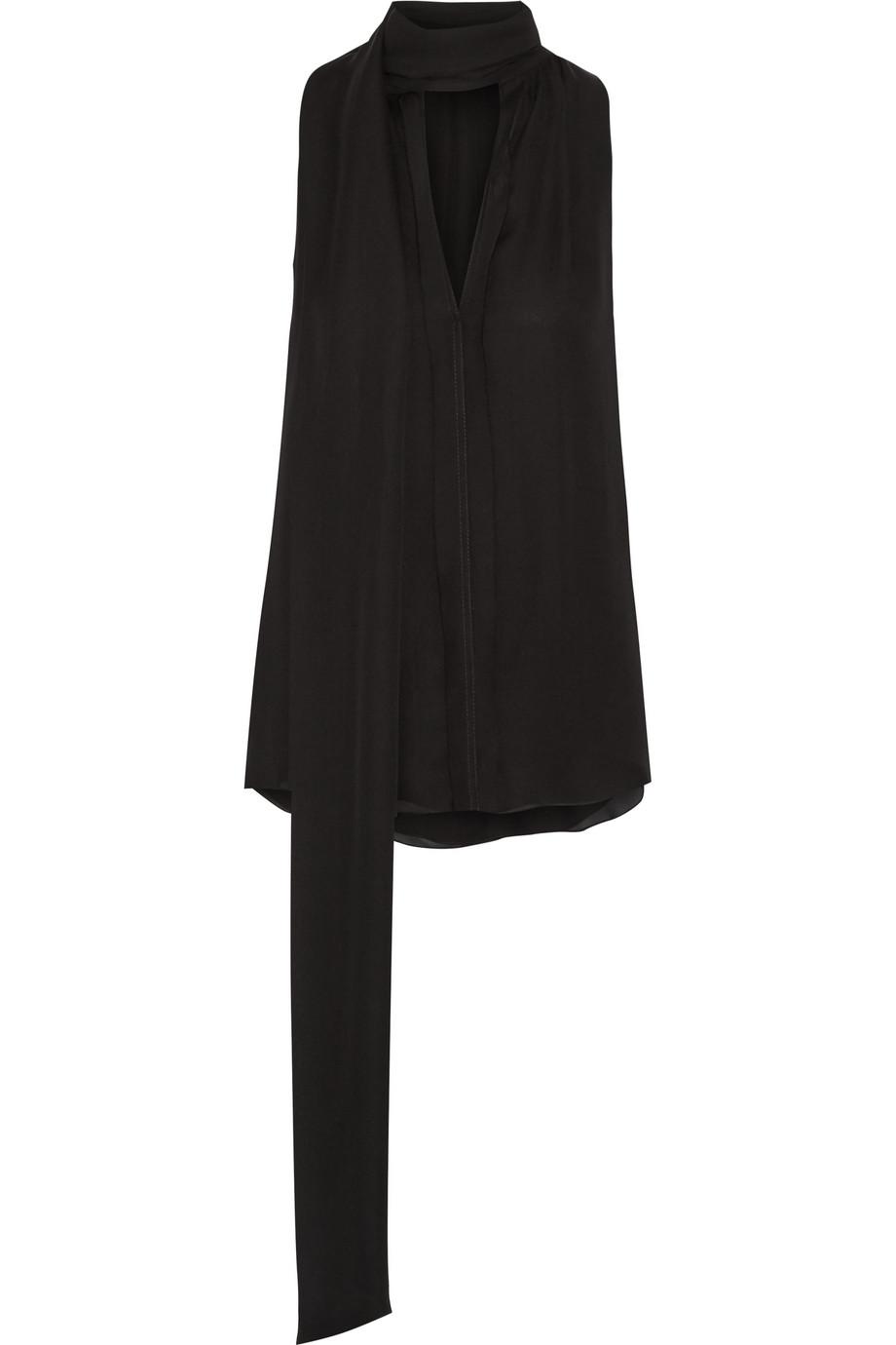 House Draped Silk-Georgette Top, Black, Women's, Size: 2