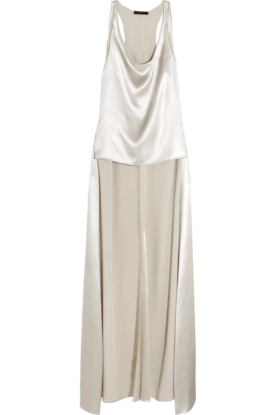 Asymmetric Draped Silk-Satin Tank, Size: 4