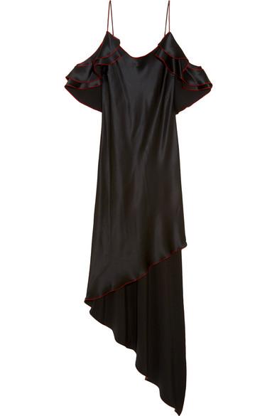 Juan Carlos Obando - Asymmetric Ruffled Silk-satin Midi Dress - Black