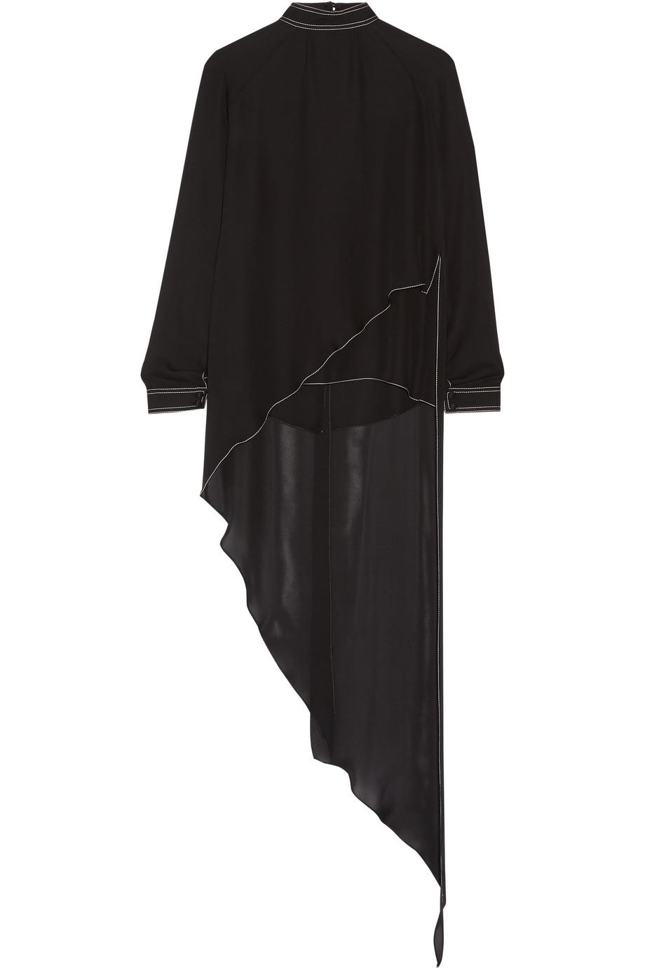 Asymmetric Split-Back Silk Crepe De Chine Blouse, Black, Women's, Size: 2