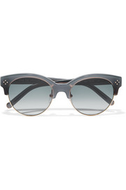 Boxwood cat-eye acetate and metal sunglasses