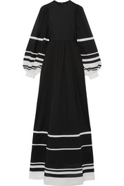 Striped cotton-voile maxi dress