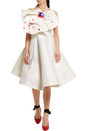 Vika Gazinskaya Bow-embellished printed cotton and silk-blend dress
