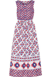 Printed cotton-matelassé midi dress