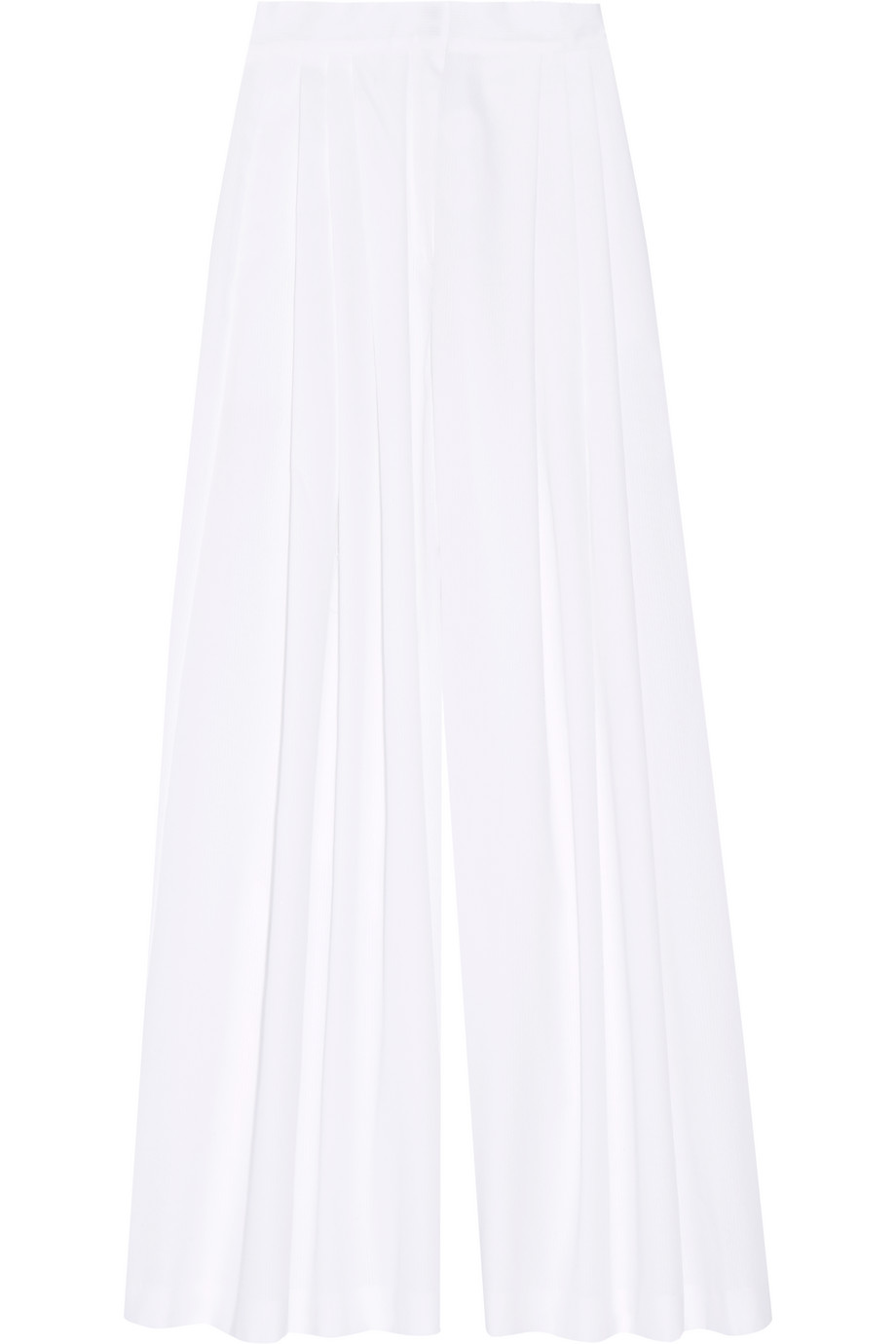 Vika Gazinskaya Pleated Cotton Wide-Leg Pants, White, Women's, Size: 36