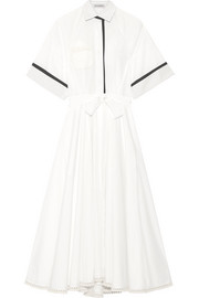 Crochet-trimmed cotton-poplin dress