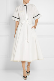 Vika Gazinskaya Crochet-trimmed cotton-poplin dress