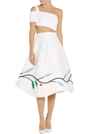 Vika Gazinskaya Appliquéd cotton and silk-blend midi skirt