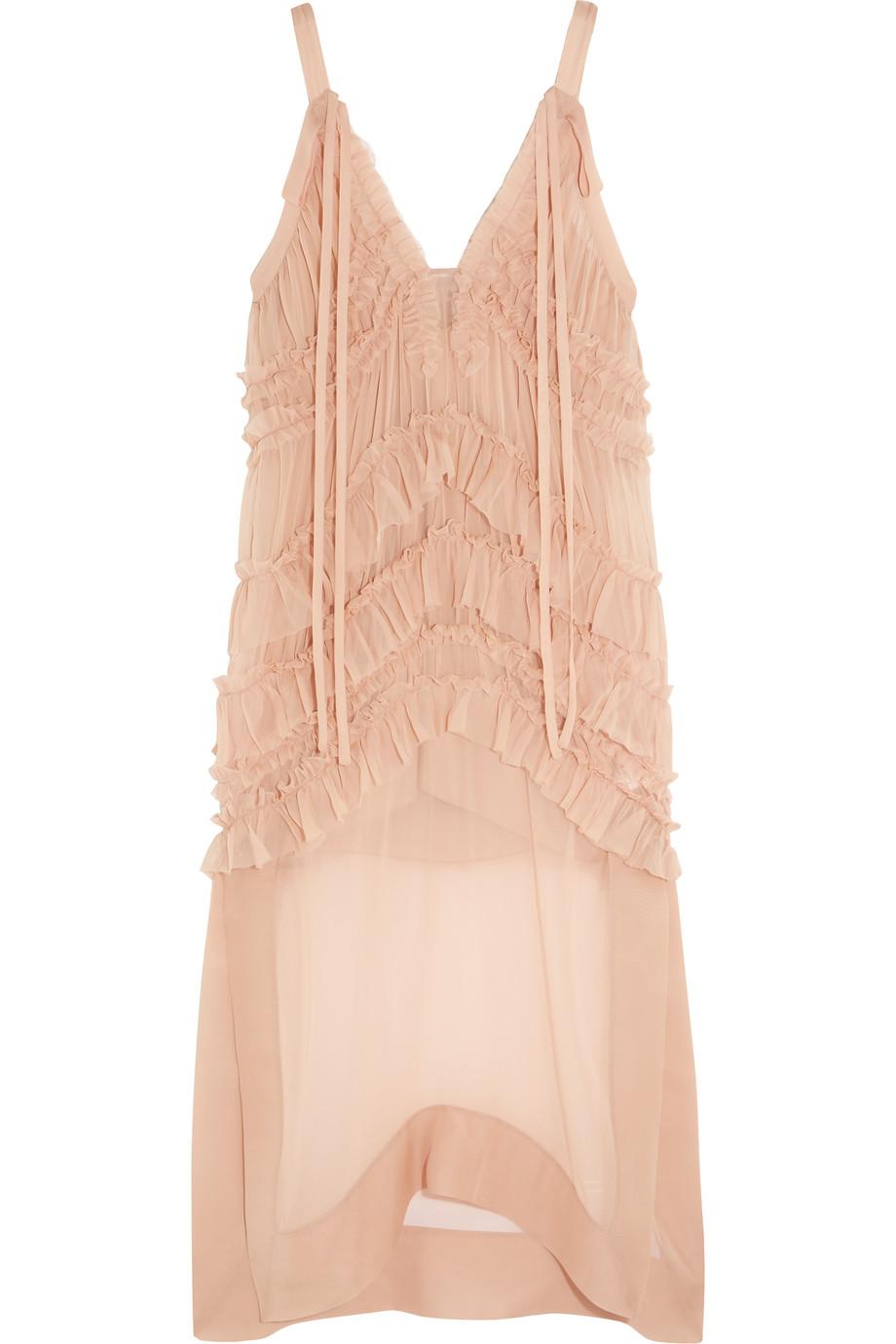 No. 21 Ruffled Tiered Silk-Chiffon Midi Dress, Blush, Women's, Size: 44