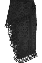 Asymmetric ruffled macramé lace skirt