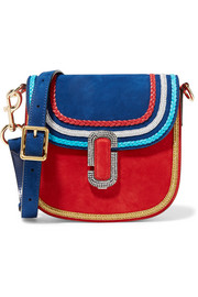 Leather-trimmed embellished suede shoulder bag