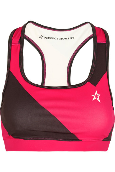 perfect moment female 123868 perfect moment printed stretchjersey sports bra gray