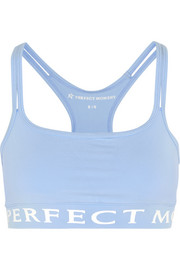 Printed stretch-jersey sports bra